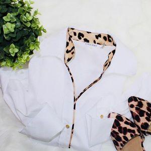 Calvin Klein Long Sleeve Leopard Trim Blouse